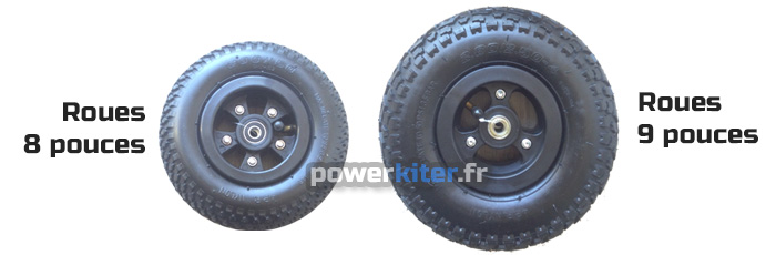 """La différence de taille entre roues 9"""" et 8"""" sur un mountainboard"""